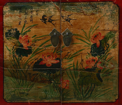 Vintage Painted Cabinet from Gansu China detail of right door panel
