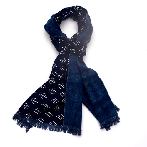 Indigo calico cotton scarf. Diamond dot pattern