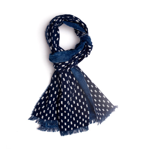 Indigo calico cotton scarf. Check pattern