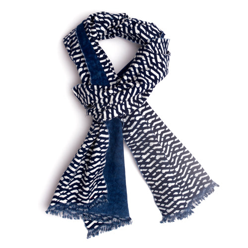 Indigo calico cotton scarf. Lattice pattern