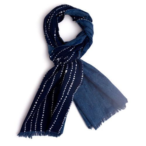 Indigo calico cotton scarf. Wonky stripe pattern
