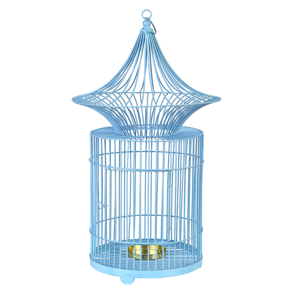 Blue metal Birdcage Candle Holder - Chinese homewares- Rouge Shop antique stores London - city furniture