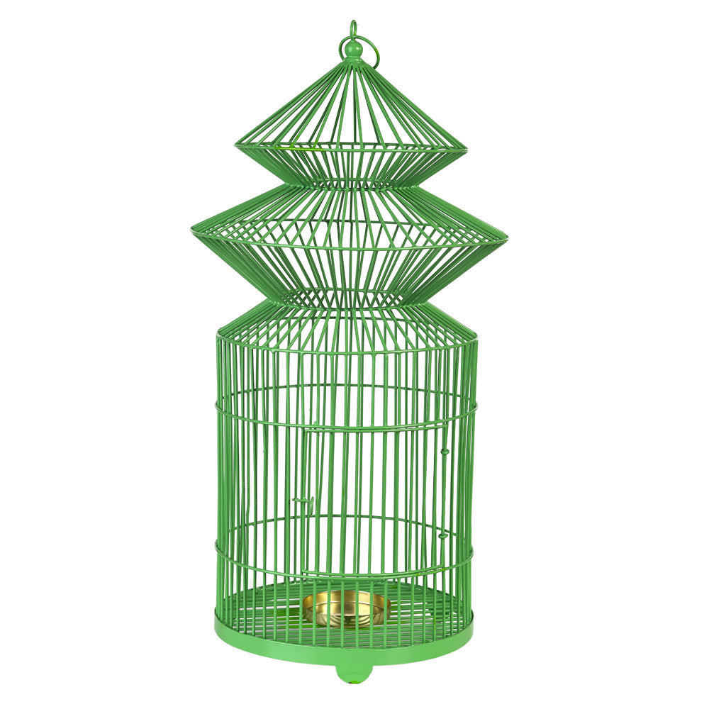Green Metal Birdcage Candle Holder - Chinese homewares- Rouge Shop antique stores London - city furniture