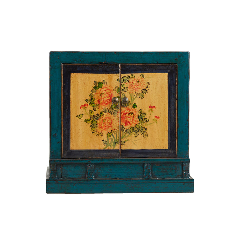 Teal with Yellow Painted Flower Two-Door Cabinet