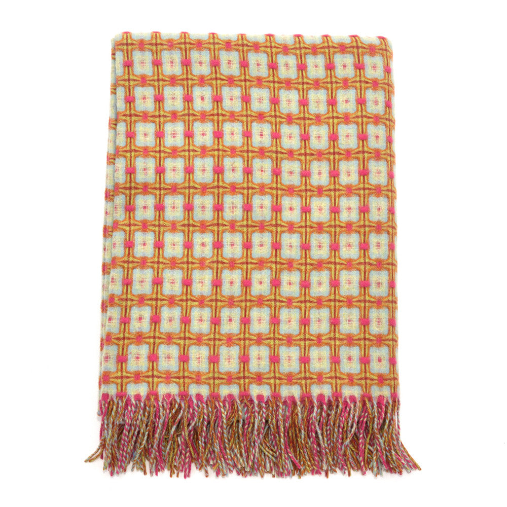 Pink and Aqua Basket Weave Throw - Chinese homewares- Rouge Shop antique stores London - city furniture