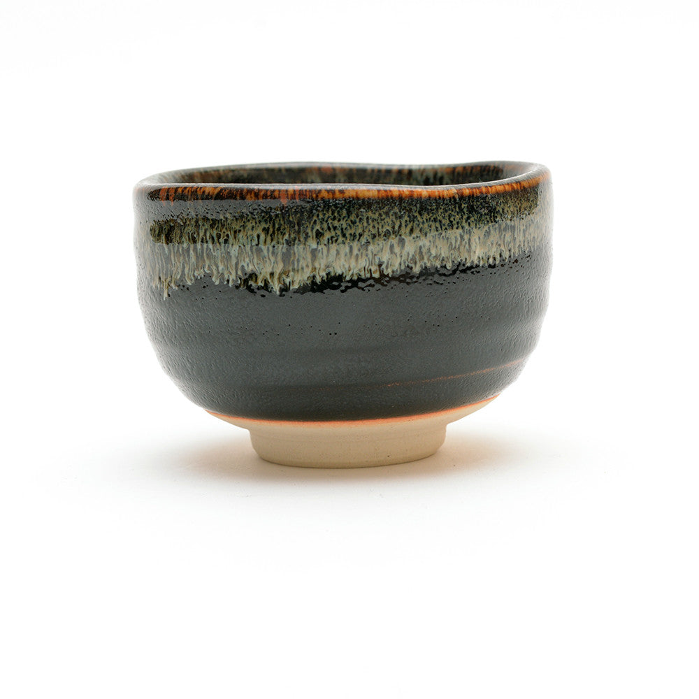 Black Drip Glaze Matcha Bowl low view