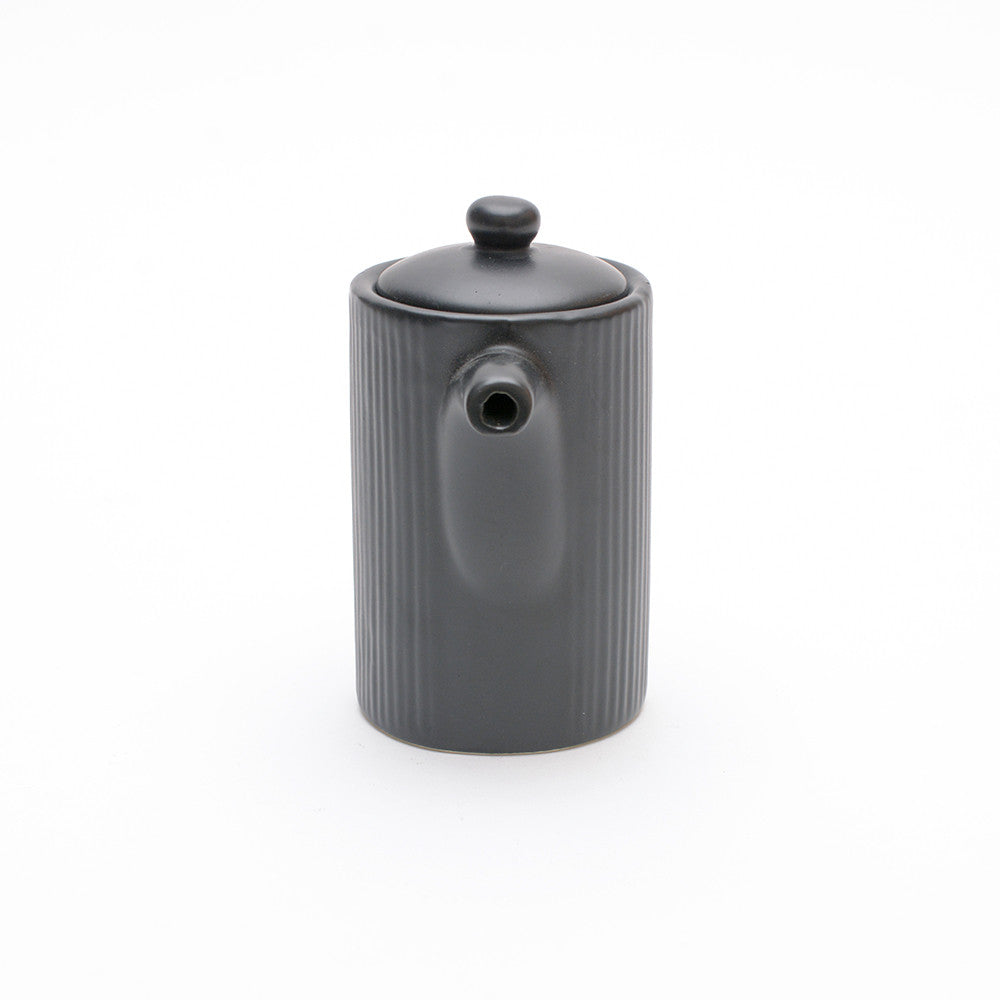 Black Satin Glaze Soya Pot front view