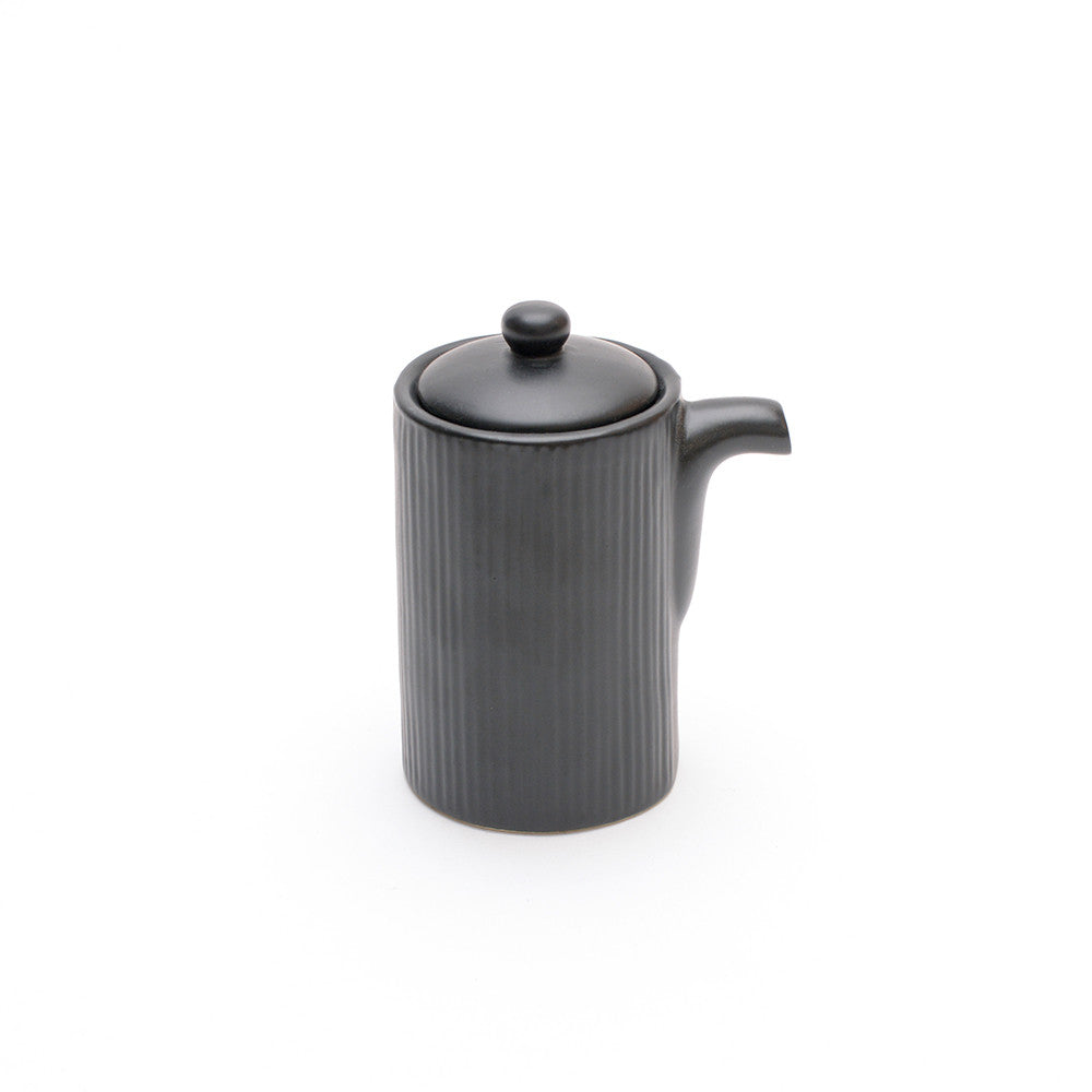 Black Satin Glaze Soya Pot side view