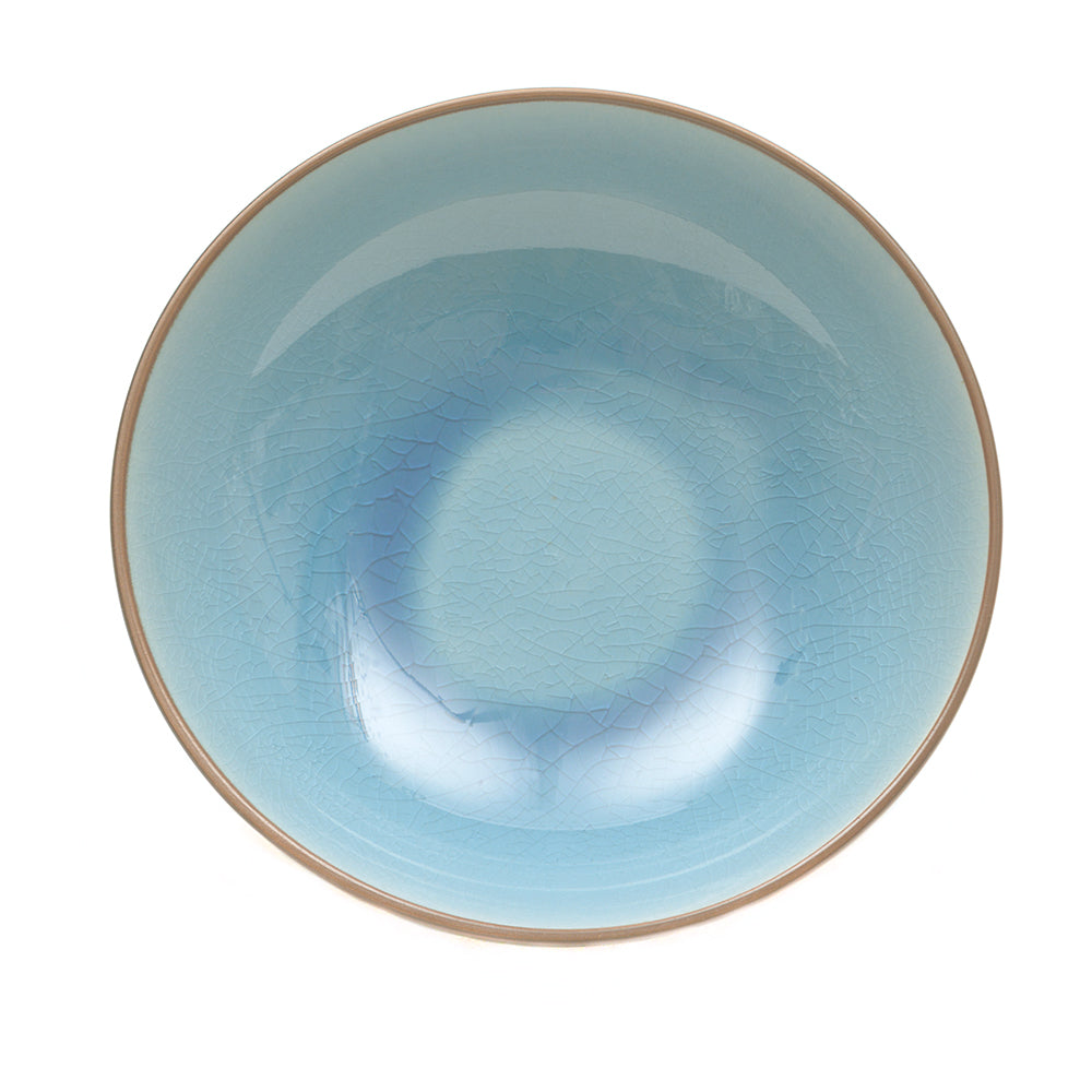Blue Glass Crackle Bowl - Shallow - Chinese homewares- Rouge Shop antique stores London - city furniture