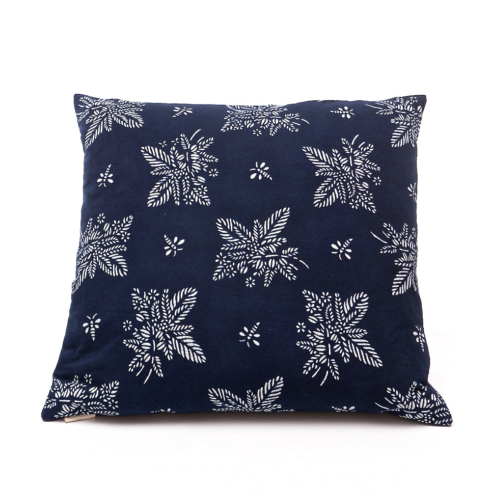 Cushion Indigo Artist Pattern 'Coffee Tea or Me' - 50 x 50cm - Chinese homewares- Rouge Shop antique stores London - city furniture