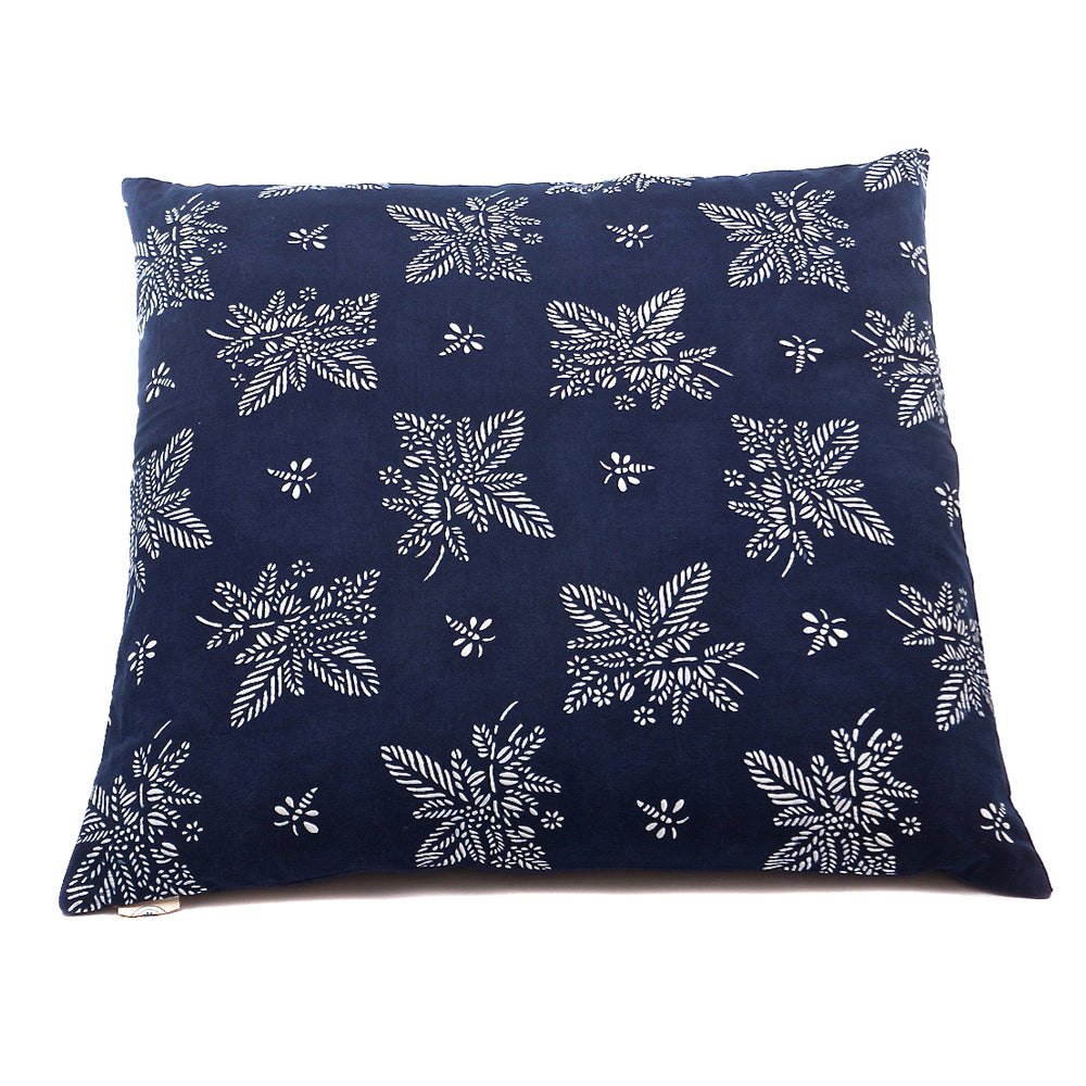 Cushion Indigo Artist Pattern 'Coffee Tea or Me' - 60 x 60cm - Chinese homewares- Rouge Shop antique stores London - city furniture