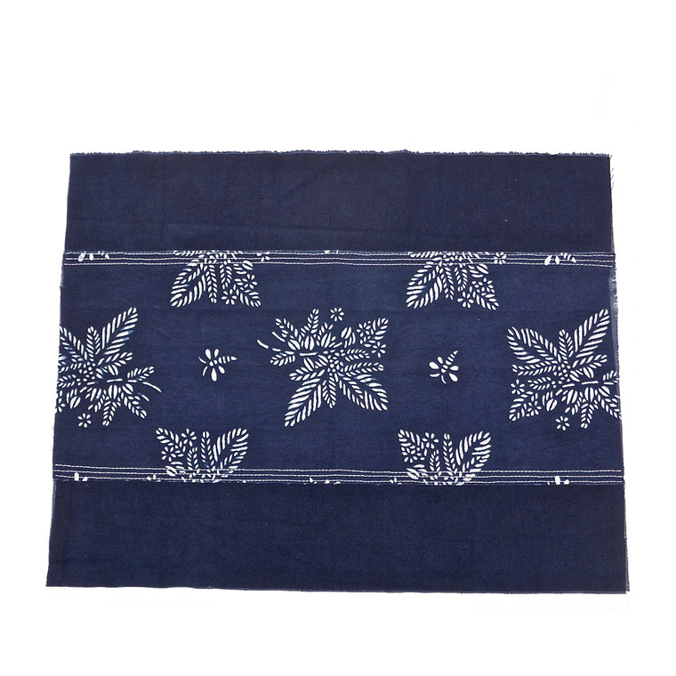 Table Place Mat with Indigo & Blue & White Botanical Pattern 'Coffee Tea or Me'