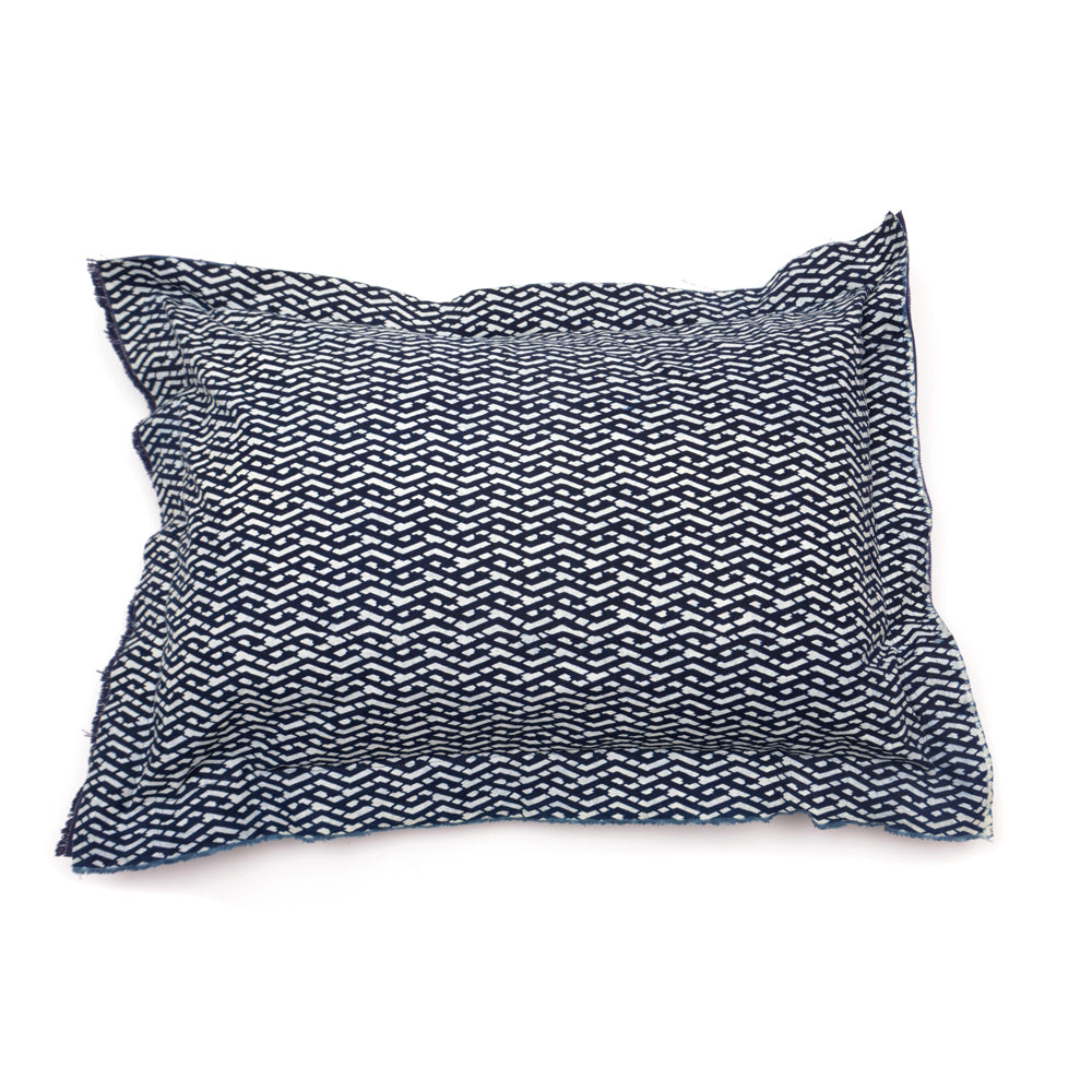Geometric Pattern Handmade Indigo Pillow Sham - 50 x 70cm - Chinese homewares- Rouge Shop antique stores London - city furniture