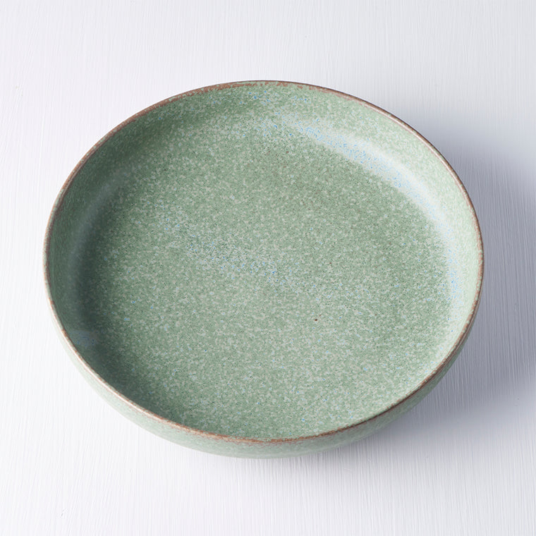 Green Plate with High Rim