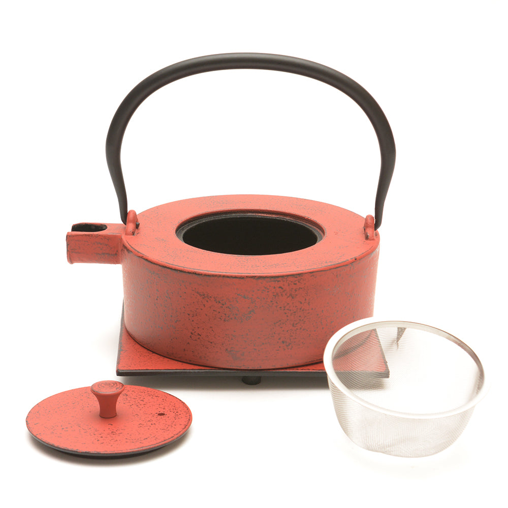 Red Cast Iron Teapot and Trivet - Heii Na Red - Chinese homewares- Rouge Shop antique stores London - city furniture