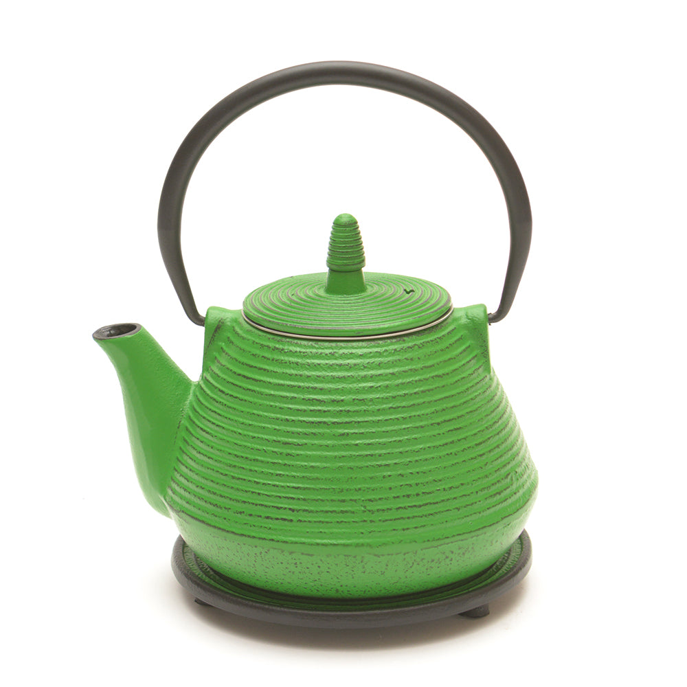Green Cast Iron Teapot and Trivet - Chinese homewares- Rouge Shop antique stores London - city furniture