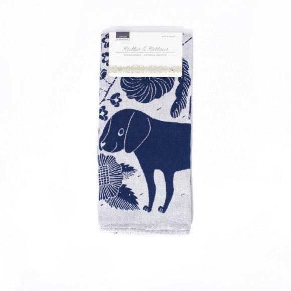 Koira Dog and Cat Tea Towel from Lapuan - Blueberry and White - Chinese homewares- Rouge Shop antique stores London - city furniture