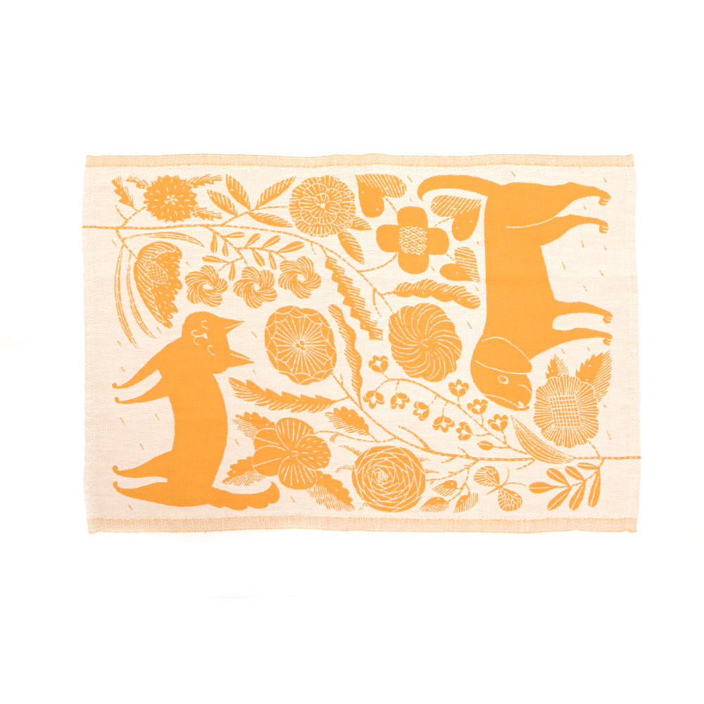 Koira Dog and Cat Tea Towel from Lapuan - Cloudberry and White