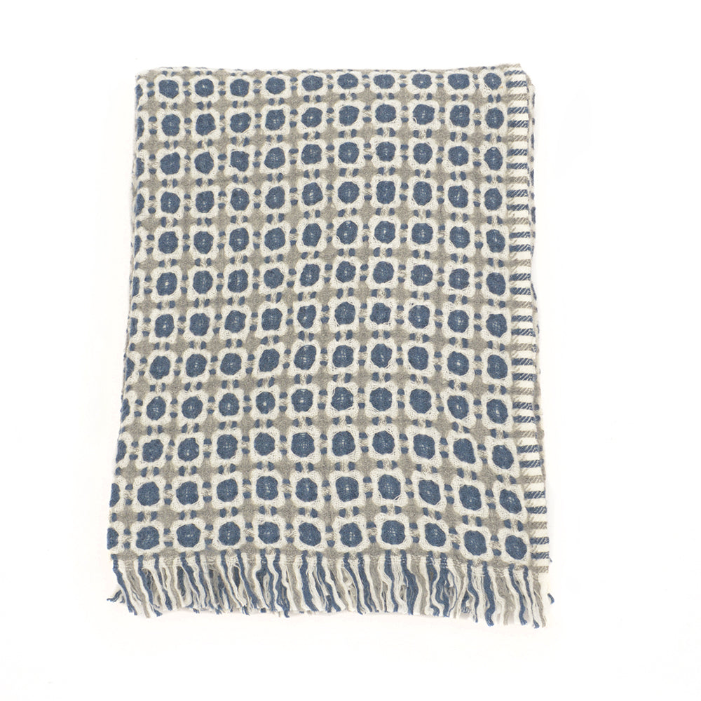 Corona Weave Blanket - Grey and Rainy Blue - Chinese homewares- Rouge Shop antique stores London - city furniture