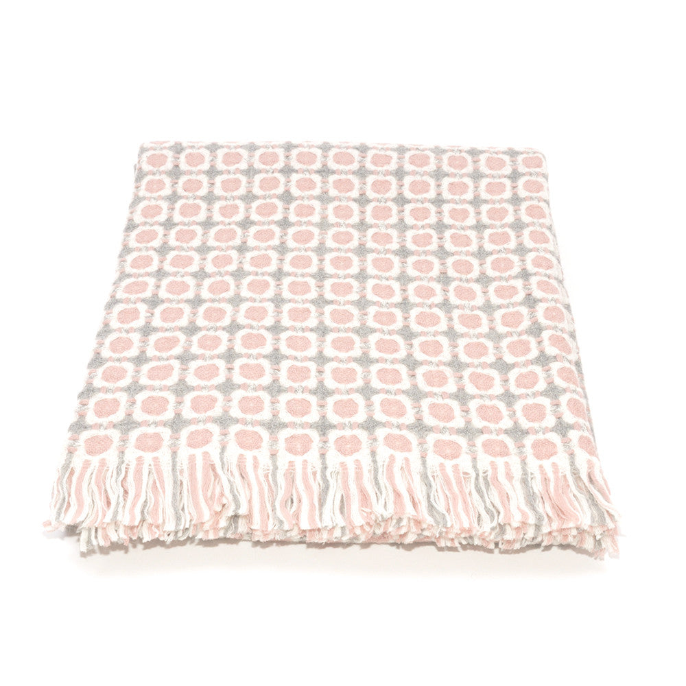 Corona Weave Blanket - Pink and Grey - Chinese homewares- Rouge Shop antique stores London - city furniture