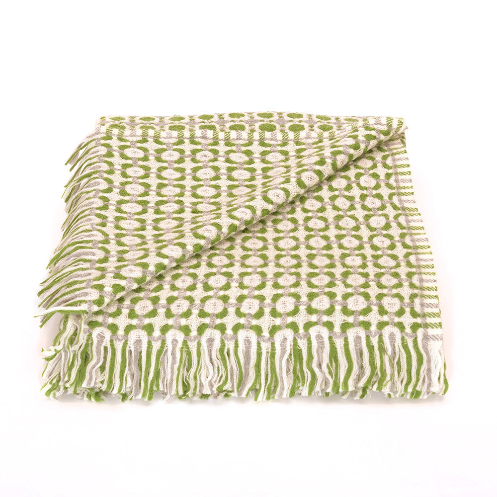 Corona Weave Blanket - Moss Green and Grey - Chinese homewares- Rouge Shop antique stores London - city furniture