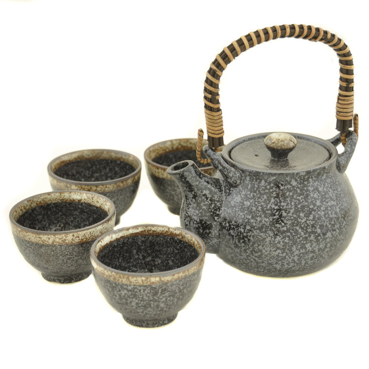 Japanese Black Kosui Glaze Tea Set - Chinese homewares- Rouge Shop antique stores London - city furniture