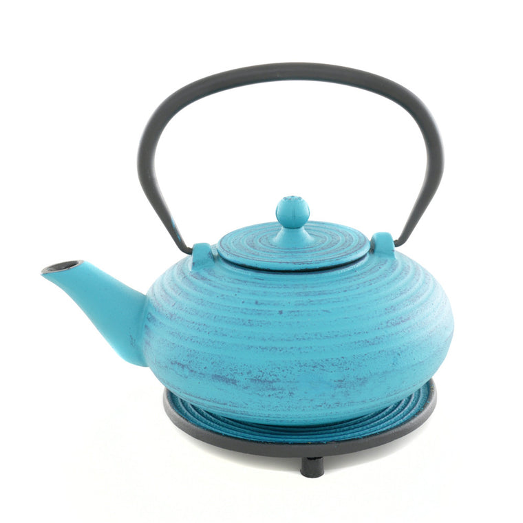 Blue Cast Iron Teapot and Trivet - Chinese homewares- Rouge Shop antique stores London - city furniture