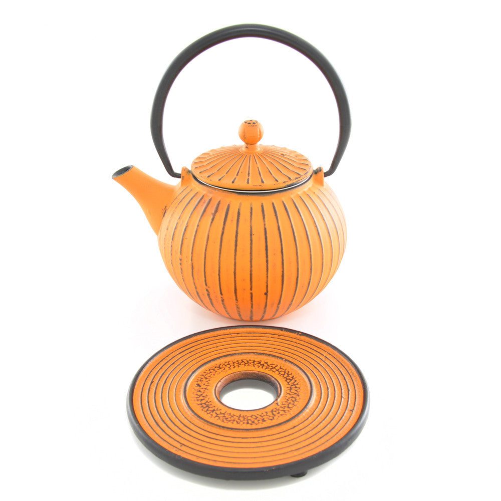 Orange Cast Iron Teapot - Chinese homewares- Rouge Shop antique stores London - city furniture