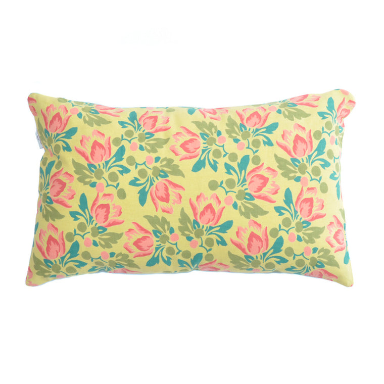 Tulip Citronelle/Berlin Turquoise Hand Printed Cotton Cushion - Chinese homewares- Rouge Shop antique stores London - city furniture