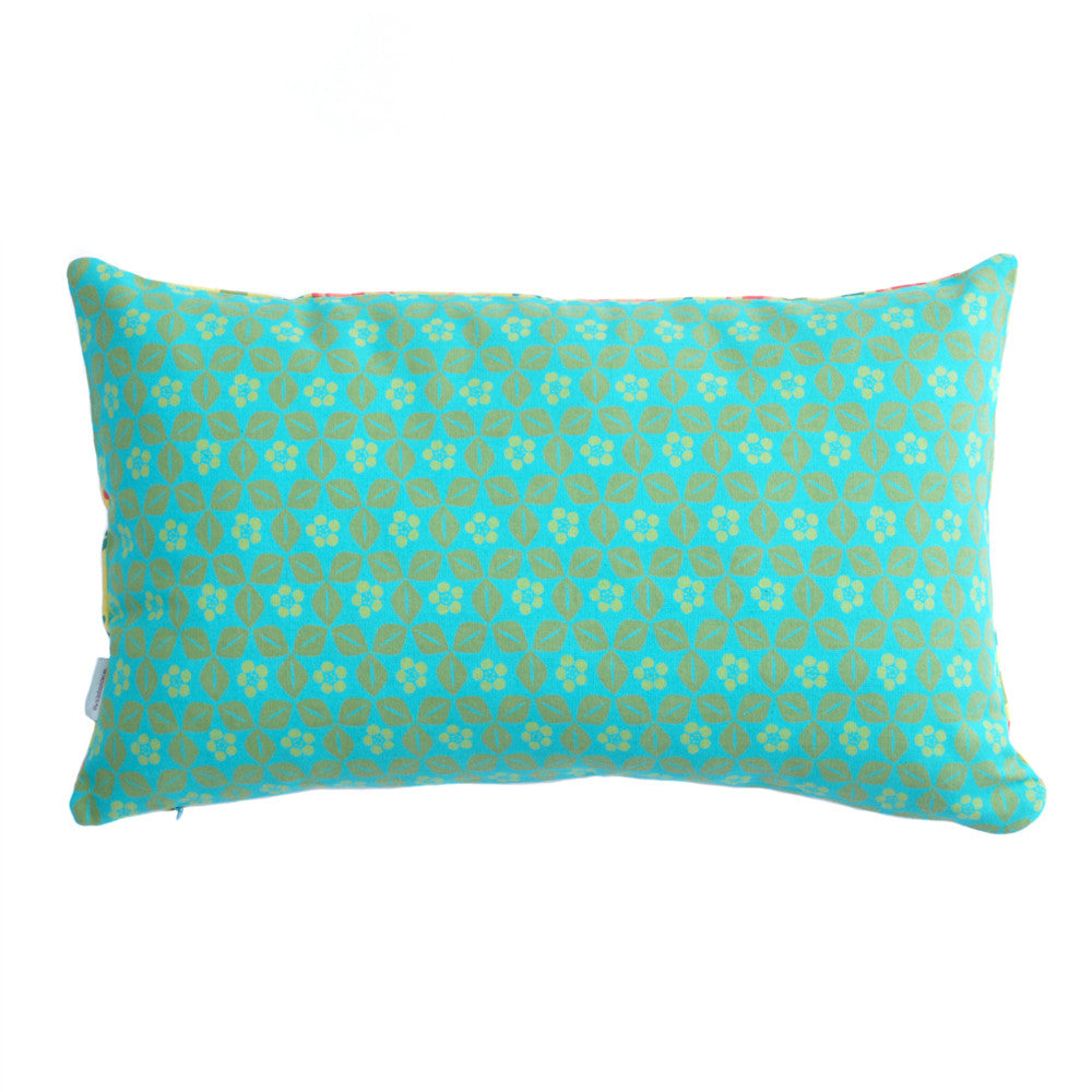 Tulip Citronelle/Berlin Turquoise Hand Printed Cotton Cushion