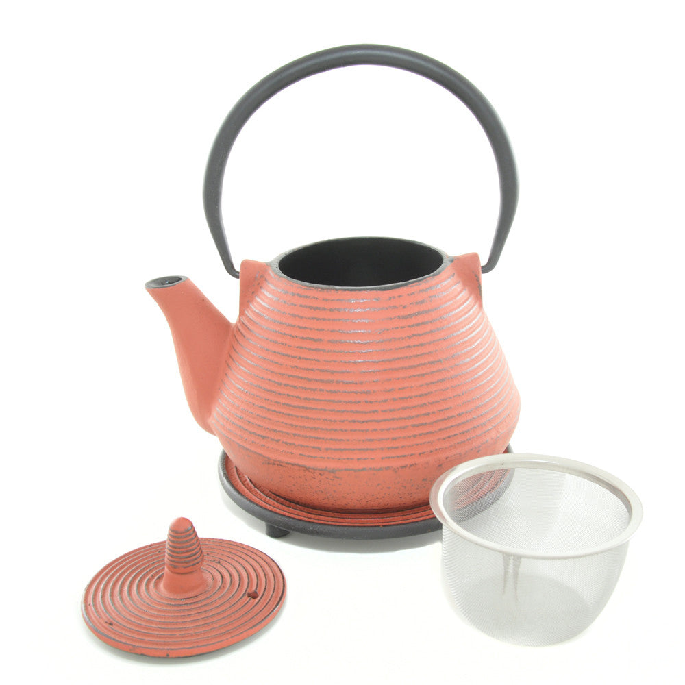 Red Cast Iron Teapot and Trivet - Chinese homewares- Rouge Shop antique stores London - city furniture