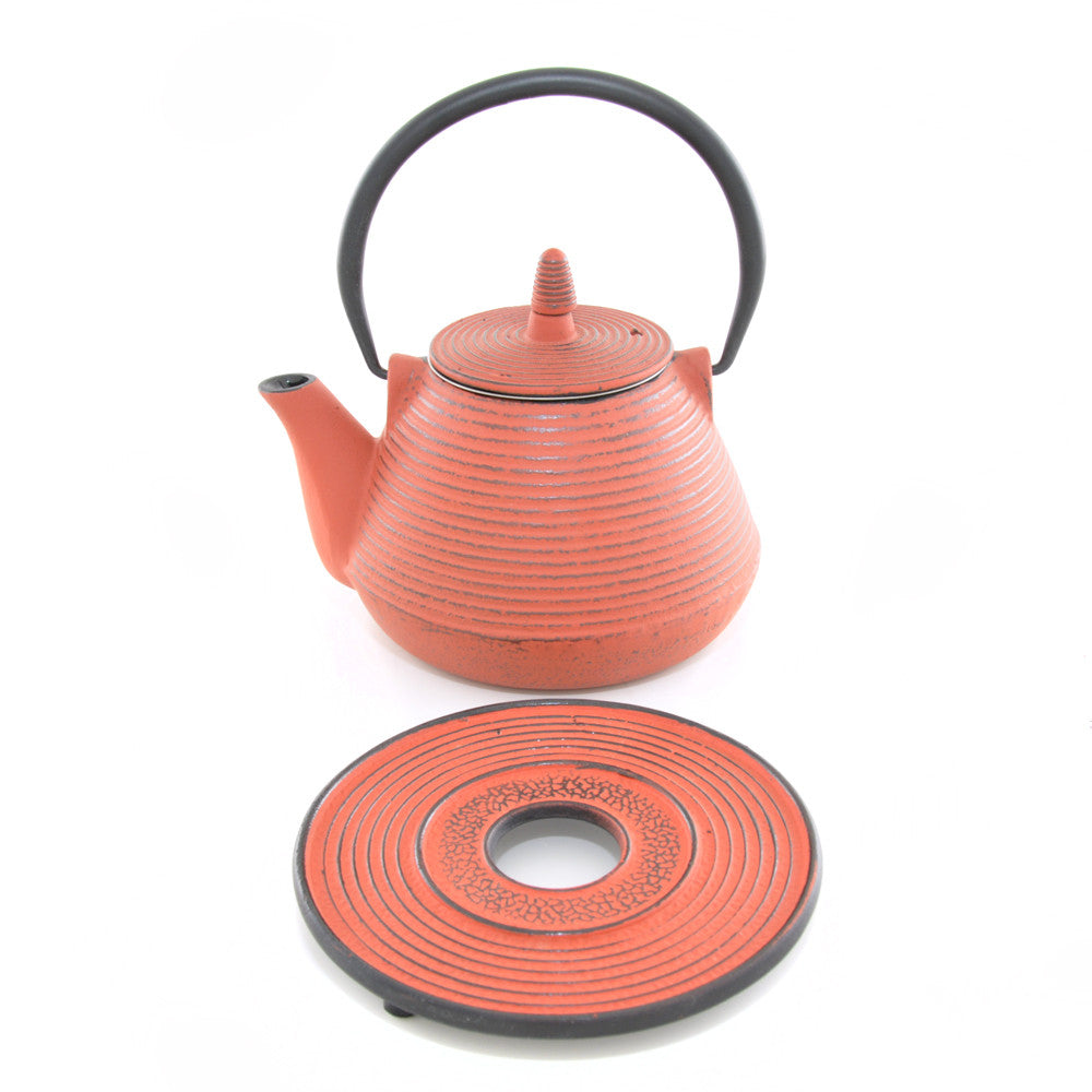 Red Cast Iron Teapot