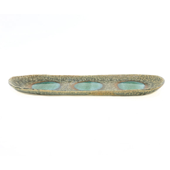 Turquoise Disks Oblong Plate - Chinese homewares- Rouge Shop antique stores London - city furniture