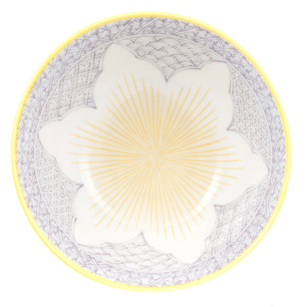 Tayo Lotus Porcelain Rice Bowl purple/yellow combination