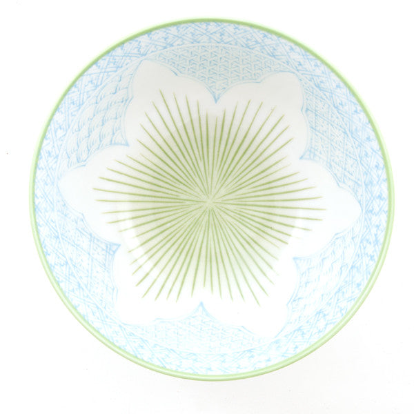 Tayo Lotus Porcelain Rice Bowl light blue/green combination