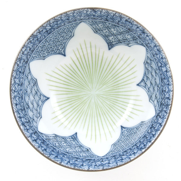 Tay Lotus Porcelain Rice Bowl dark blue/green combination