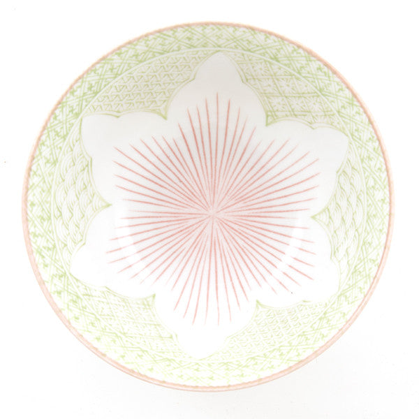 Tayo Lotus Porcelain Rice Bowl green/red combination
