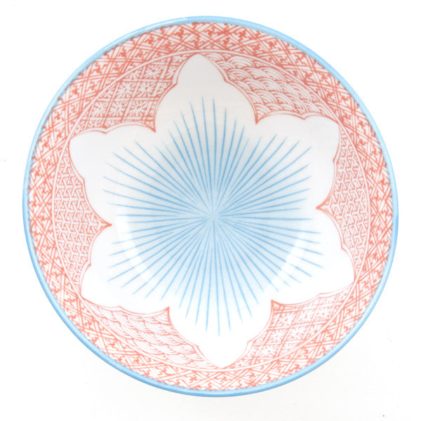 Tayo Lotus Porcelain Rice Bowl red/blue combination