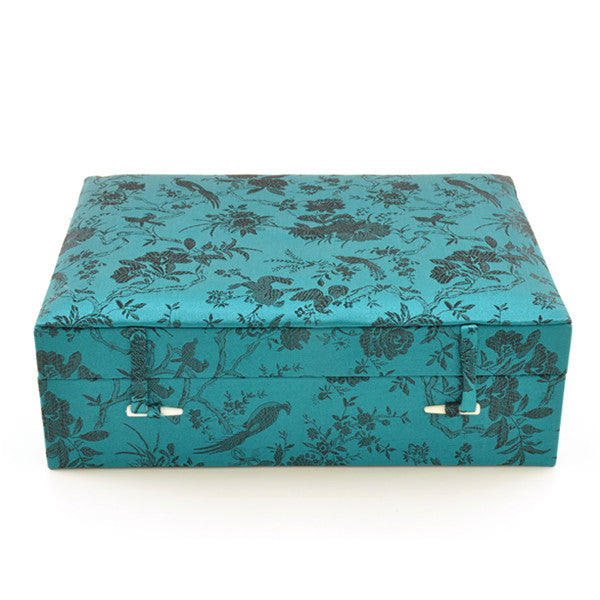 Fabric Covered Jewellery Box Large Rouge