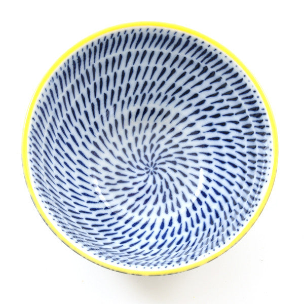 Blue Link Pattern Rice Bowl from above