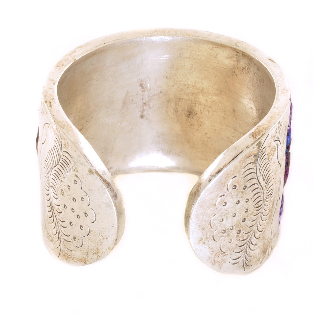 Miao Silver Cuff with Vintage Fabric - Chinese homewares- Rouge Shop antique stores London - city furniture