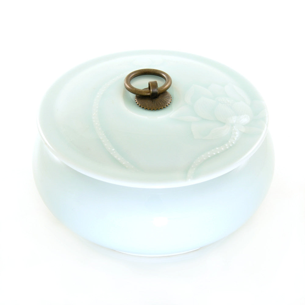 Jade Green Round Tea Jar with Lotus Flower