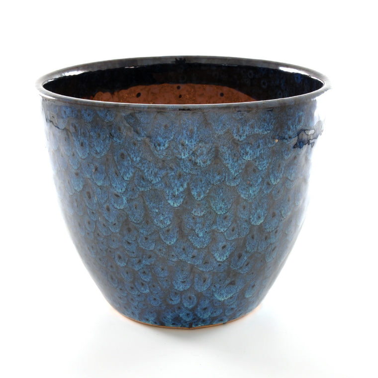 Ceramic Plant Pot Blue Feather Glaze - Large - Chinese homewares- Rouge Shop antique stores London - city furniture