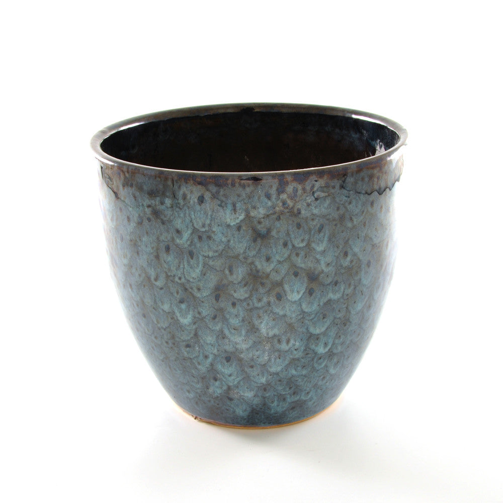 Ceramic Plant Pot Blue Feather Glaze - Medium - Chinese homewares- Rouge Shop antique stores London - city furniture