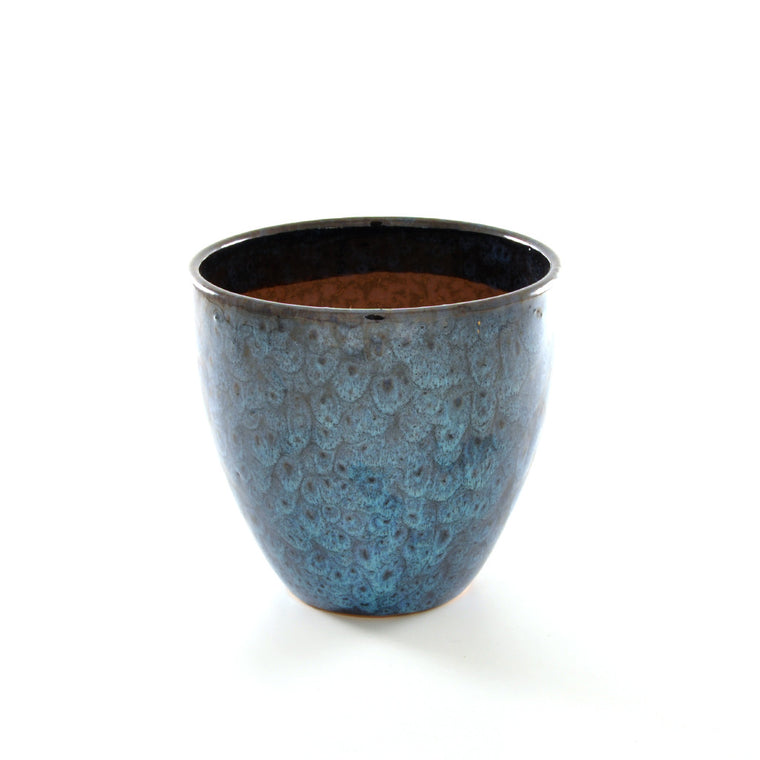 Ceramic Plant Pot Blue Feather Glaze - Small - Chinese homewares- Rouge Shop antique stores London - city furniture