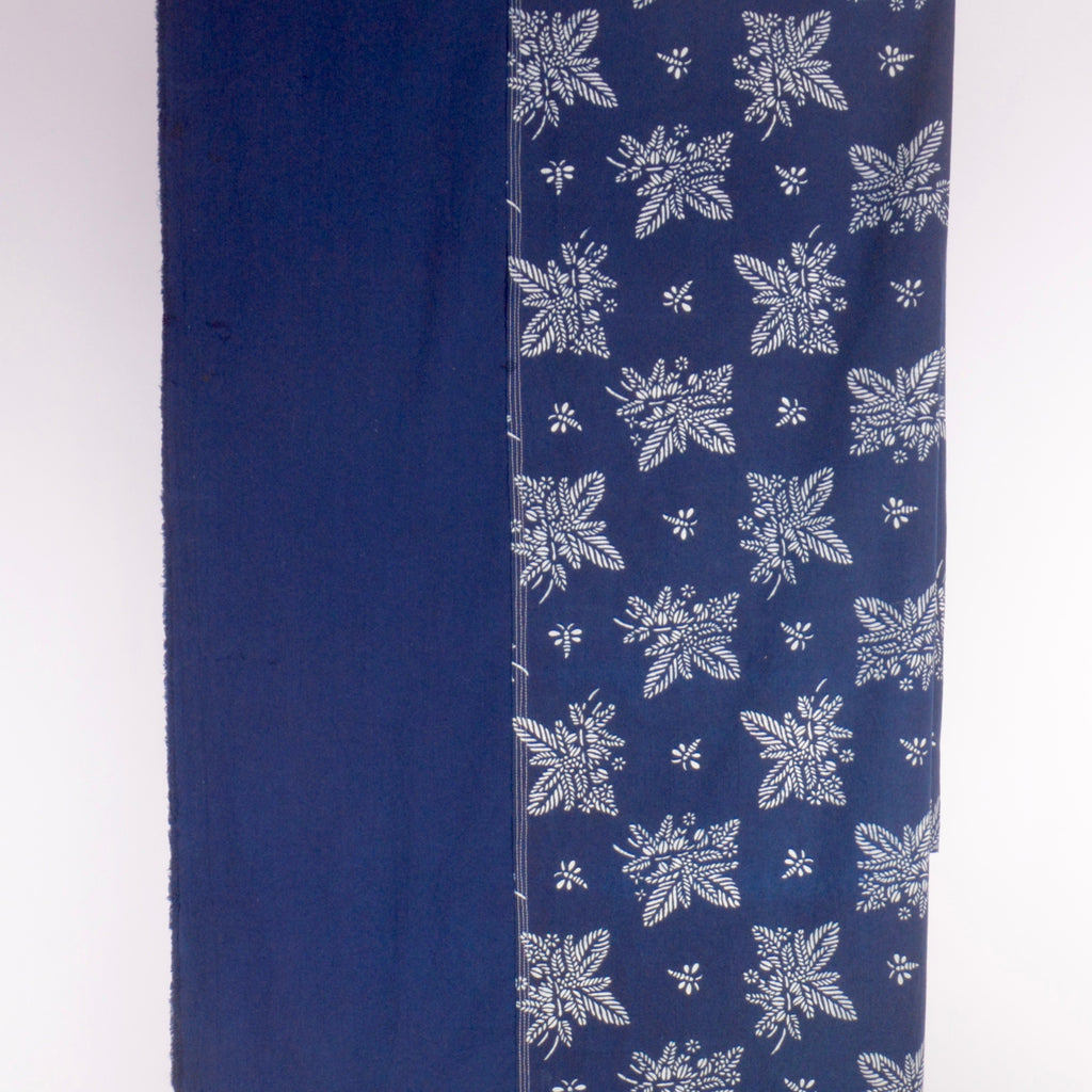 Table cloth with Indigo & Blue & White Botanical Pattern 'Coffee Tea or Me'