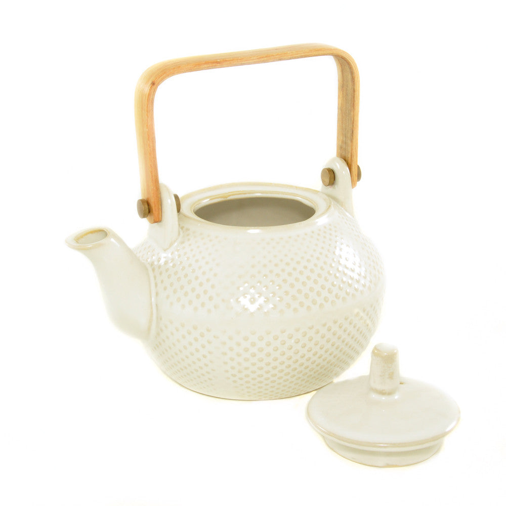White Textured Teapot lid off