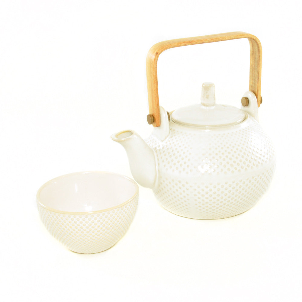 White Textured Teapot with Textured Teacup