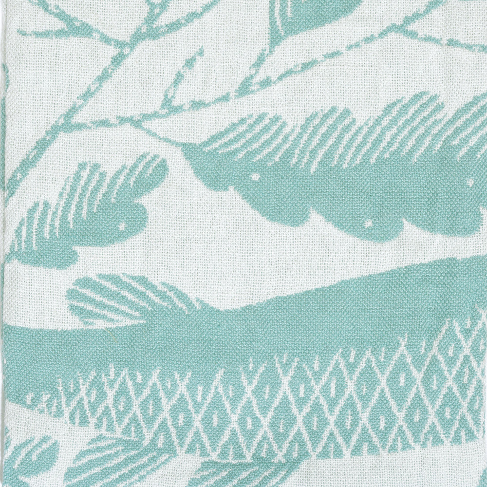 Kala Fish Motif Linen Tea Towel from Lapuan in teal and white close up
