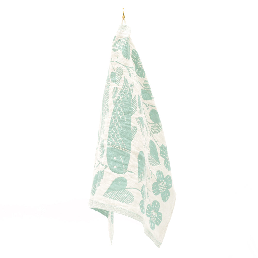 Kala Fish Motif Linen Tea Towel from Lapuan - Teal